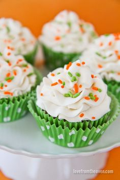 Carrot cake cupcakes with cream cheese frosting.  Great for #Easter