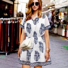 Short sleeves dress. Asian XL. Please refer to second photo for measurements. Lined. Thanks. Dresses