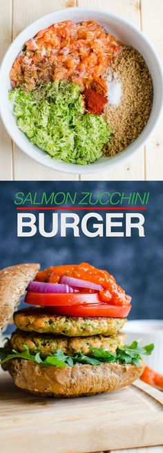 Healthy zucchini salmon burger -- Loaded with healthy proteins, whole grains and green veggie