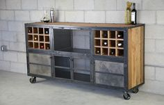 Industrial reclaimed wood and steel liquor cabinet. Modern industrial, rustic. Customizable. Handmade and great for urban/modern settings
