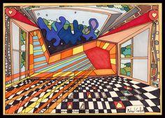 "Letraset Ink Drawing by Artist Michael Carlton - ""Freemasonic Floor"" Floor Art, Flooring, Abstract, Ink Drawings, Artist, Artwork, 10 Years, Knowledge, Summary"