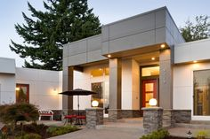 modern dramatic  Front Entrance    Outdoor Lighting to Match a House Plan's Architectural Style
