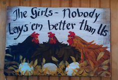Chicken Art sign Painting hand painted Original by cackleblossums, $29.00