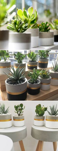 Handmade concrete painted cylinder flower pots. These look so nice, especially with the golden line.