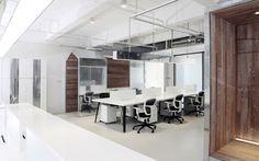 rolling drawers underneath each desk area