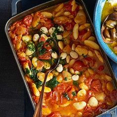 Spanish-Style Gigante Beans. Finish this baked bean dish with a crunchy topping of garlic, parsley, and salted almonds.