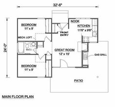 images about Small Houses on Pinterest   Square feet    Cottage Style House Plan   Beds Baths Sq Ft Plan Floor Plan   Main Floor Plan