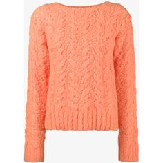Sies Marjan Cable Knit Jumper ($495) ❤ liked on Polyvore featuring tops, sweaters, cable sweater, red top, chunky cable sweater, chunky cable knit sweater and cable knit jumper
