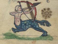 Book of Hours, A Centaur firing an arrow, Walters Manuscript W.102, fol. 82v detail by Walters Art Museum Illuminated Manuscripts, via Flickr
