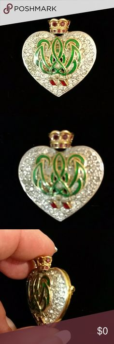 """VTG Duchess of Windsor Heart Crown Brooch Pin This 1994 replica of the Cartier pin made in 1957 given by the Duke of Windsor as a 20th anniversary gift to the Duchess, Wallis Simpson. Gold & silver tone with clear round Swarovski crystals rhodium set, red crystals on the crown at the top & bright green enamel center, the """"W"""" & """"E"""" intertwined crest. This beautiful piece is in like new condition with little to no signs of wear. Measures about 1.5"""" x 1.5"""" Jewelry Brooches"""