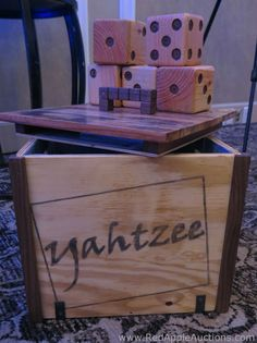 Oversized Yahtzee game designed for outdoor use. Each die (dice) was square and lightweight wood. So sharp looking! The inside of the box was lined in denim. School Auction Projects, Class Projects, Art Projects, Diy Foundation, Yahtzee Game, Solar System Crafts, School Fundraisers, Auction Items, Game Design