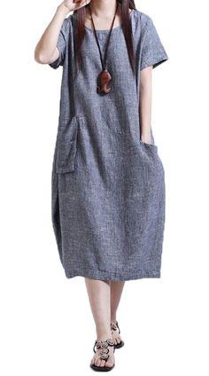 Plaid&Plain Women's Linen Summer Loose Midi Length Shift Dresses With Pockets Blue 12