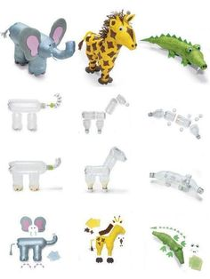 zoo animals made out of recycled bottles Reuse Plastic Bottles, Plastic Bottle Flowers, Plastic Bottle Crafts, Plastic Art, Recycled Bottles, Recycled Art Projects, Recycled Crafts, Diy Crafts, Animal Projects
