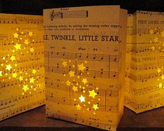 Twinkle Twinkle Little Star******* 1 luminary  This listing is for 1 luminary bag fashioned from vintage sheet music! You choose size on drop down menu, if youd like more than 1 just update quantity. You pick size in drop down menu.  These luminaries will be hand crafted and custom made for you once you order so please order in advance if they are for a wedding or party. if you would like them without the song title I can absolutely do that for you also! I offer these in quantities of 1, 5…