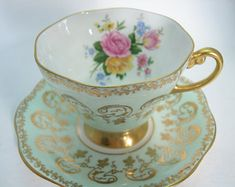 Foley Tea Cup and Saucer, Mint Green and Gold Tea cup and saucer, Floral tea cup and saucer set.