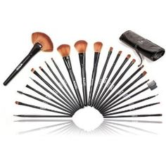 3 Shany Studio Quality Natural Cosmetic Brush Set with Leather Pouch 24 Count
