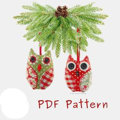 Fabric OWL Christmas Tree Decoration PDF Sewing PATTERN & Tutorial