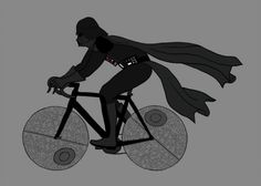 Darth Vader on his hipster fixie death starred bike, by Mike Joos