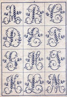 Ribbon Embroidery Patterns Free Easy Cross, Pattern Maker, PCStitch Charts Free Historic Old Pattern Books: Sajou No 346 Embroidery Alphabet, Embroidery Monogram, Cross Stitch Alphabet, Silk Ribbon Embroidery, Cross Stitch Embroidery, Machine Embroidery, Embroidery Designs, Font Alphabet, Hand Embroidery Patterns Free
