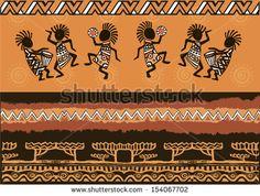 Dancing aborigines. Papuan. Aborigine. African Set - stock vector
