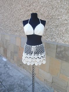 Crochet Beach Set Crochet Skirt Lacy Top Summer Lace by Etelina
