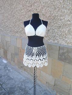 Crochet Beach Set Crochet Skirt Lacy Top Summer Lace by Etelina