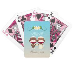Sock Monkey Hawaiian Wedding Playing Card