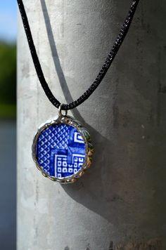 Broken China Pendant Vintage Blue China Willow by BayouGlassArts, $34.00