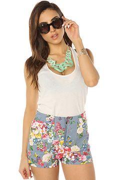 *LA Boutique Women's The Floral Me Not Short in Light Denim, Short