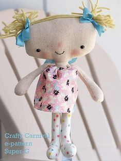 free doll patterns to sew | SUPER Cute kawaii Style Rag Doll Pattern $5 - Crafty Carnival