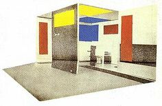 G. Rietveld and V. Huszar. Space-Colour-Composition for the Grosse Berliner Kunstausstellung in Berlin. 1923.
