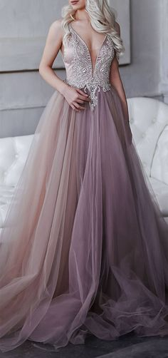 Gorgeous Tulle Beaded Long Prom Dresses,Spaghetti Straps Evening Gown,Deep V-Neck Prom Dresses