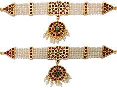 Temple Jewelry Baju Band Vanki with Kemp & Pearls. Kuchipudi jewellery USA