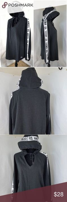 Victoria Secret Angel Charcoal Black Hoodie V Neck Excellent use condition and color and in perfect  shape .  Worn twice.   Loose fit.  Can fit up to Xlarge regular.   Clean inside out   Non smoking environment victoria  secret Sweaters V-Necks