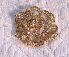 Rhinestone Rose Brooch .  Elizabeth Taylor .  Rose Brooch . large rose brooch . Avon Elizabeth Taylor by vintagous on Etsy