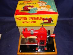 Rare 1940's Battery Operated Tin Toy Sewing Machine by Bungalowbob
