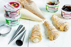 Kermaiset torttutötteröt Baking, Ethnic Recipes, Food, Desserts, Tailgate Desserts, Deserts, Bakken, Essen, Postres