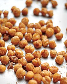 Roasted Spiced Chickpeas, Wholeliving.com #snacks