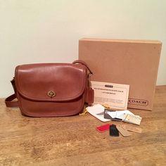 Vintage Coach Collegiate Bag 9815 Tabac Leather Purse w/ Original Packaging NYC New York by VanWaVintage on Etsy https://www.etsy.com/listing/540311593/vintage-coach-collegiate-bag-9815-tabac