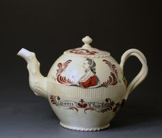 Rare creamware teapot commemorative of Queen Charlotte. Probably Yorkshire pottery c1775
