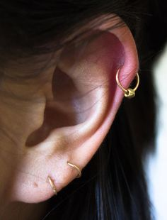 14k gold filled cartilage hoop earring with african brass bead EX OF WHAT YOU DONT WANT