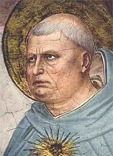 San Tommaso d'Aquino ( 1225 - 1274 ), frate domenicano, esponente della filosofia Scolastica, il Doctor Angelicus, qui rappresentato dal Beato Angelico.
