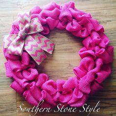 Hot pink burlap wreath, breast cancer awareness wreath, girl baby shower wreath, sorority house wreath, Valentine's Day wreath, spring wreath