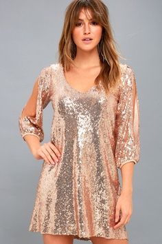 203a1fba50 Moment to Shine Rose Gold Sequin Shift Dress 3 Bridesmaid Dresses With  Sleeves