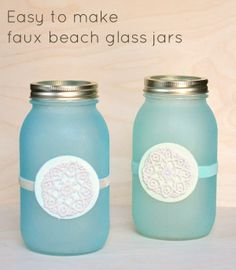 Easy to make faux beach glass jar lanterns