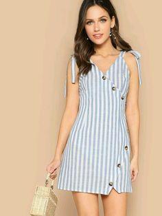 Shein Boho Blue Self Tie Shoulder Asymmetrical Placket Striped Summer Mini Dress Women Wrap Buttoned Sleeveless Sheath Dresses Casual Dresses, Fashion Dresses, Natural Clothing, Striped Fabrics, Latest Dress, Blue Fashion, Boho Dress, Ideias Fashion, Outfits