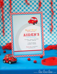 Cute cars birthday invitation! #invitation #cars