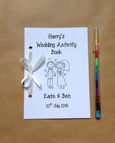 Personalised Childrens Wedding Activity Pack / Book - Cartoon couple - 12 Colours! on Etsy, £1.79