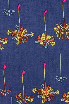 Tissu de coton japonais Tenugui serviette, feu d'artifice Sparkler, tissu teint à la main, moderne d'été en tissu Art, emballage, Home Decor, bandeau, h370