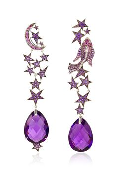 One of a Kind Zodiac Earrings by Lydia Courteille for Preorder on Moda Operandi